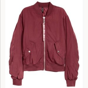 H&M Bomber Jacket in Burgundy Size XS